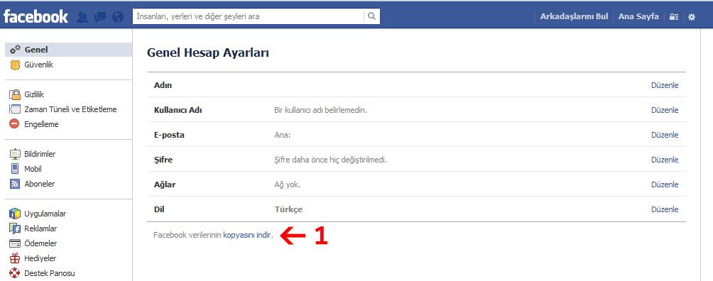 Facebook Hesabi İndirme