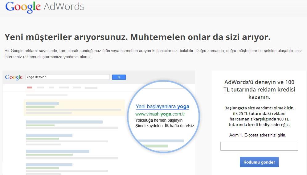 Google Adwords 100 Tl Kupon