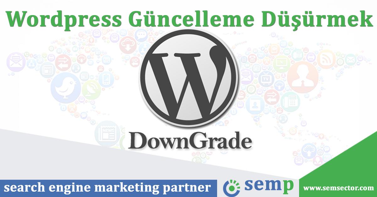 wordpress guncelleme dusurmek downgrade