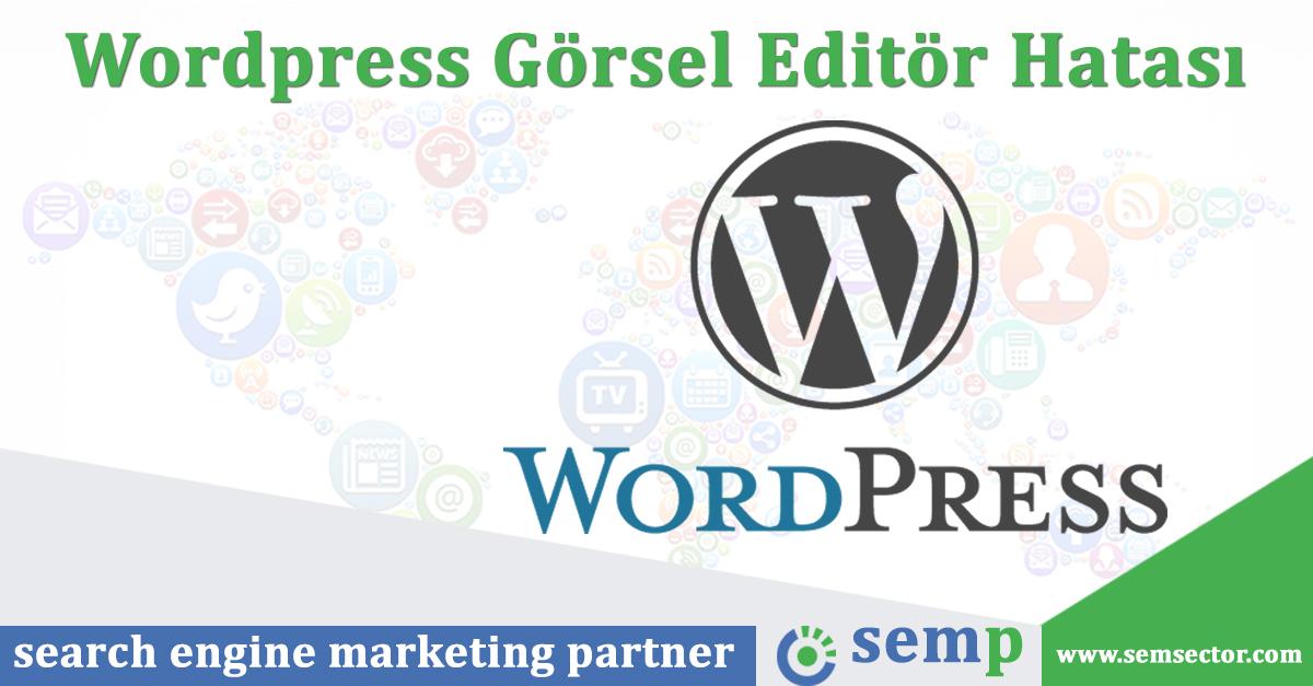 Wordpress Görsel Editör Hatası
